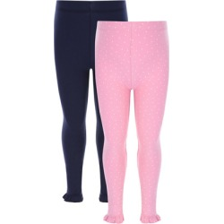 Younger Girls 2pk Navy and Pink Leggings