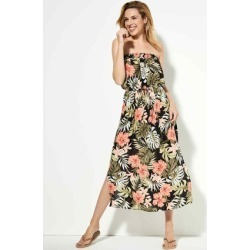 Womens Black Floral Bandeau Maxi Dress found on Bargain Bro UK from peacocks.co.uk