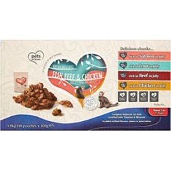 Pets At Home Rich Recipe Fish, Beef And Chicken Mature Cat Food 48 X 100G