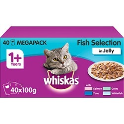 Whiskas 1 Adult Cat Food Pouches Fish Selection In Jelly 40X100G