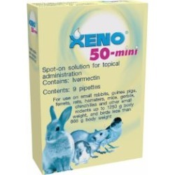 Xeno 50 Antiparasitic Spot On Tube Rabbits, Guinea Pigs, Ferrets, Birds Up To 800G