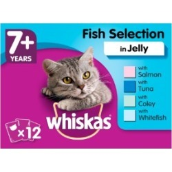 Whiskas 7 Senior Cat Food Pouches Fish Selection In Jelly 12X100G