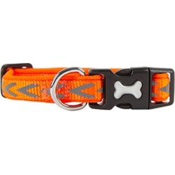 Dog Walk Reflective Chevron Dog Collar Orange