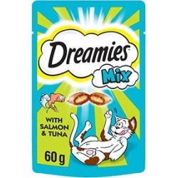 Dreamies Adult 1 Cat Treats Mixed With Salmon And Tuna 60G found on Bargain Bro UK from Pets at Home