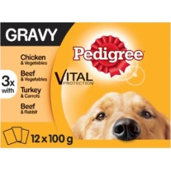 Pedigree Adult Dog Food Pouches Mixed Selection In Gravy 12X100G
