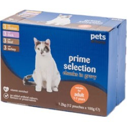 Prime Selection Chunks in Gravy Complete Adult Cat Food 12 x 100g found on Bargain Bro UK from Pets at Home for $3.39