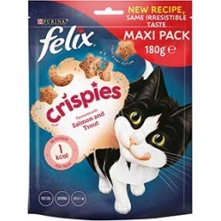 Felix Crispies Cat Treats Salmon And Trout 180G found on Bargain Bro UK from Pets at Home