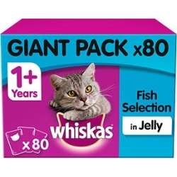 Whiskas 1 Adult Cat Food Pouches Fish Selection In Jelly 80X100G