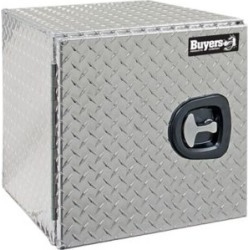 Buyers Products 18 in. x 18 in. x 24 in. Diamond Tread Aluminum Underbody Truck Box with Barn Door