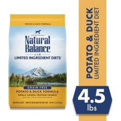 Natural Balance L.I.D. Limited Ingredient Diets Potato & Duck Formula Dry Dog Food, 4.5 lb. Bag