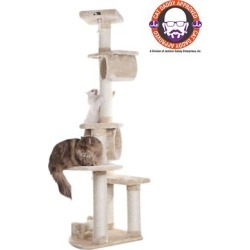 Armarkat 74 in. H Press Wood Cat Tree with Cured Sisal Posts for Scratching, A7463