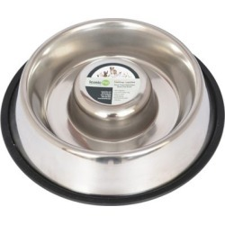 Iconic Pet Slow Feed Stainless Steel Pet Bowl for Dog or Cat; 48 oz.