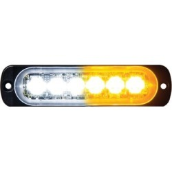 Buyers Products 4.4 in. Amber/Clear Thin Mount Horizontal LED Strobe Light