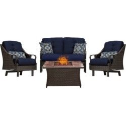 Hanover Ventura 4-piece Fire Pit Chat Set with Wood Grain Tile Top