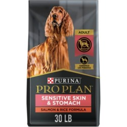 Purina Pro Plan FOCUS Sensitive Skin & Stomach Salmon & Rice Formula Adult Dry Dog Food, 30 lb. Bag