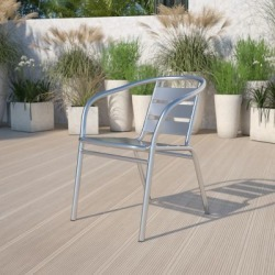 Heavy-duty Commercial Aluminum Indoor/Outdoor Restaurant Stack Chair with Triple Slat Back