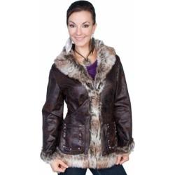 Scully Honey Creek Women's Mottled Faux Shearling Jacket, 8013-DBN-XXL