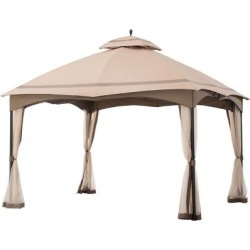 Sunjoy 12 ft. x 10 ft. Cabin-Style Soft Top Gazebo with Netting