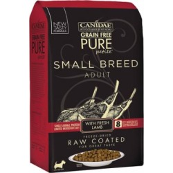 CANIDAE Grain Free PURE Petite Pet Small Breed Raw-Coated Adult Lamb Dry Dog Food, 4 lb. 1883