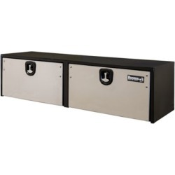Buyers Products 18 in. x 18 in. x 72 in. Black Steel Truck Box with 2 Stainless Steel Doors