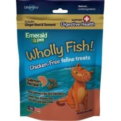 Emerald Pet Wholly Fish Grain Free Salmon Plus Digestive Heath Cat Treats, 3 oz., 6006434