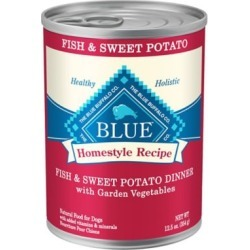 Blue Buffalo Blue Homestyle Recipe Fish and Sweet Potato Dinner with Garden Vegetables Wet Dog Food; 12.5 oz. Can