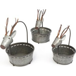 Gerson International Nesting Galvanized Metal Deer Figure Containers with Handles, Assorted Set of 3, 2424050EC
