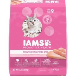 Iams Proactive Health Adult Sensitive Digestion & Skin Dry Cat Food with Turkey Cat Kibble, 13 lb. Bag