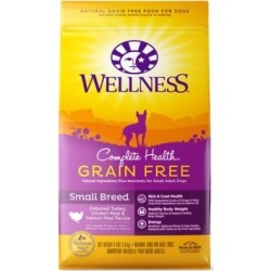 Wellness Complete Health Grain-Free Small Breed Deboned Turkey, Chicken Meal & Salmon Meal Recipe Dog Food, 4 lb.