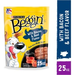Purina Beggin' Strips Made in USA Facilities Dog Training Treats; Bacon & Beef Flavors, 25 oz. Pouch
