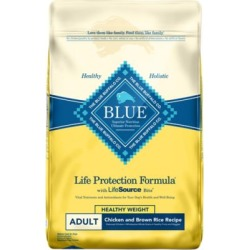 Blue Buffalo BLUE Life Protection Formula Adult Healthy Weight Chicken and Brown Rice Dry Dog Food, 15 lb. Bag
