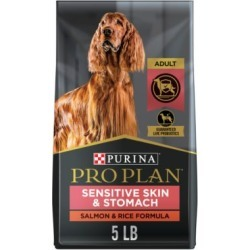 Purina Pro Plan FOCUS Sensitive Skin & Stomach Salmon & Rice Formula Adult Dry Dog Food, 5 lb. Bag