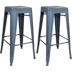 AmeriHome Outdoor Gray Metal Bar Stool, 2 Piece Set, BSZGM302PK