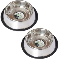 Iconic Pet Stainless Steel Non-Skid Pet Bowl for Dog or Cat; 8 oz./1 cup; Pack of 2