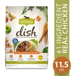 Rachael Ray Nutrish DISH Chicken & Brown Rice Recipe with Veggies & Fruit Natural Dry Dog Food; 11.5 lb. Bag