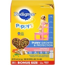 Pedigree Puppy Growth and Protection Dry Dog Food, Chicken and Vegetable Flavor, 36 lb.