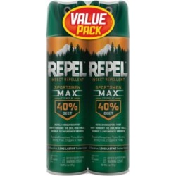 Repel Repel Sportsmen Max Insect and Mosquito Repellent With Deet; Twin Value Pack