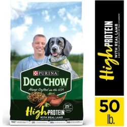 Purina Dog Chow High Protein Dry Dog Food, High Protein Recipe with Real Lamb & Beef Flavor - 50 lb. Bag