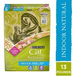 Purina Cat Chow Naturals Indoor Plus Vitamins & Minerals Adult Dry Cat Food, 13 lb. Bag