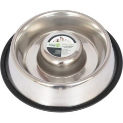 Iconic Pet Slow Feed Stainless Steel Pet Bowl for Dog or Cat; 12 oz.