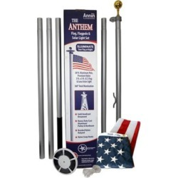 Annin American Flag and Flagpole Set, 20 ft. Aluminum 5, section In, Ground Flagpole and 3 ft. x 5 ft. US Flag