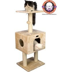 Armarkat Cat Tree with Condo And Scratch Post 42 in. H, Beige, A4201