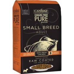 CANIDAE Grain Free PURE Petite Pet Small Breed Raw-Coated Adult Chicken Dry Dog Food, 4 lb. 1875