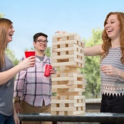 Hey! Play! Wooden Blocks Tower Stacking Outdoor Yard Game