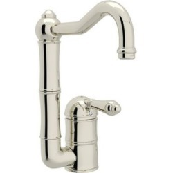 ROHL Italian Kitchen Acqui Single Hole Column Spout Bar/Food Prep Faucet, Polished Nickel, RHL-A3608/6.5LMPN-2