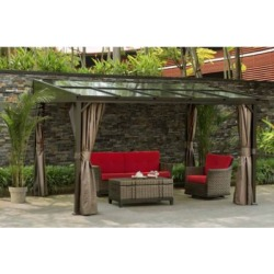 Sunjoy 12 ft. x 10 ft. Polycarbonate Top Awning Gazebo with Curtain and Netting