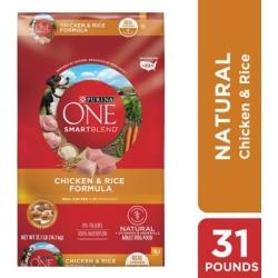 Purina ONE SmartBlend Chicken & Rice Formula Adult Premium Dog Food, 31.1 lb. Bag