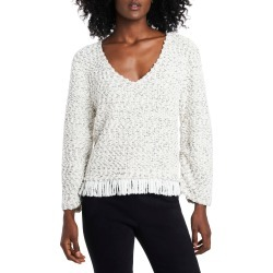 Women's Vince Camuto Fringe Hem Cotton Blend Boucle Sweater, Size XX-Large - Ivory found on Bargain Bro Philippines from Nordstrom for $79.00