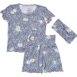 Infant Girl's Baby Grey By Everly Grey Bella Fitted Two-Piece Short Pajamas & Head Wrap Set, Size 9-12M - Blue found on Bargain Bro India from Nordstrom for $27.99