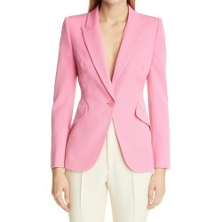 Women's Alexander Mcqueen Wool Grain De Poudre Jacket, Size 12 US - Blue found on Bargain Bro from Nordstrom for USD $1,516.20